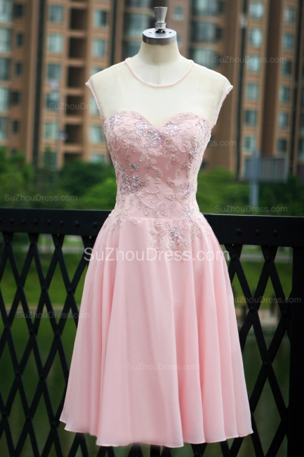 Elegant Pink Prom Dresses Jewel Sequined Crystal Beading Knee Length  Zipper Chiffon Evening Gowns