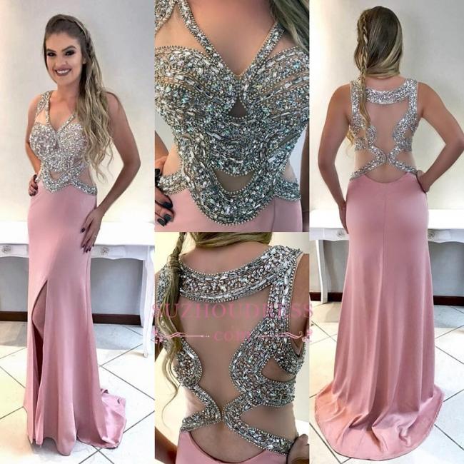 Glamorous V-Neck Sleeveless Crystal Evening Dresses | Pink Split Prom Dress