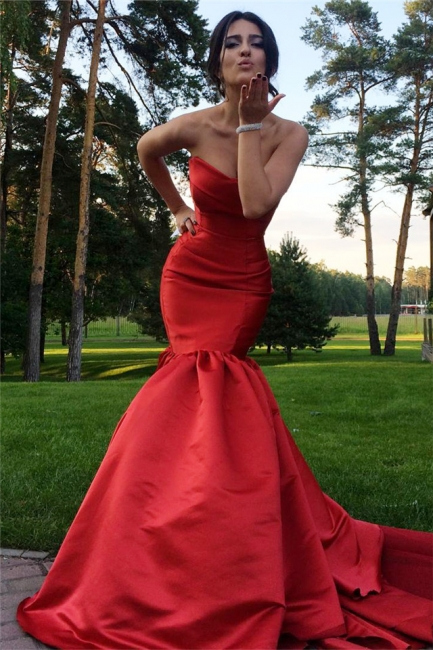 Sexy Mermaid  Red Evening Dresses Sweetheart Satin Prom Dress BA3642