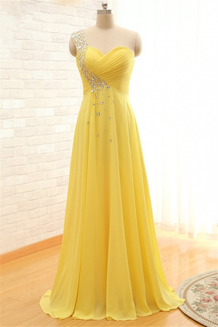 Latest One Shoulder Chiffon Long Prom Dress with Beadings Elegant Crystal Ruffles Plus Size Evening Dress