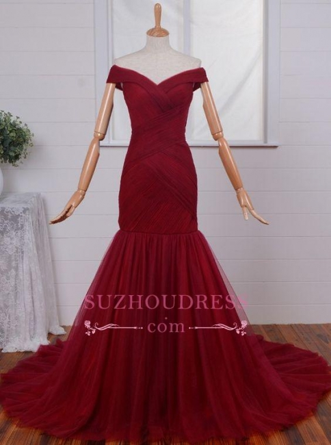 Ruched Mermaid Long Red Formal Evening Gown  Off-the-Shoulder Tulle Prom Dresses