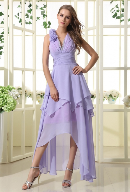 Lavender Chiffon Hi-lo Cocktail Dresses V Neck Sleeveless Flowers Cascading Ruffles Charming Homecoming Gowns