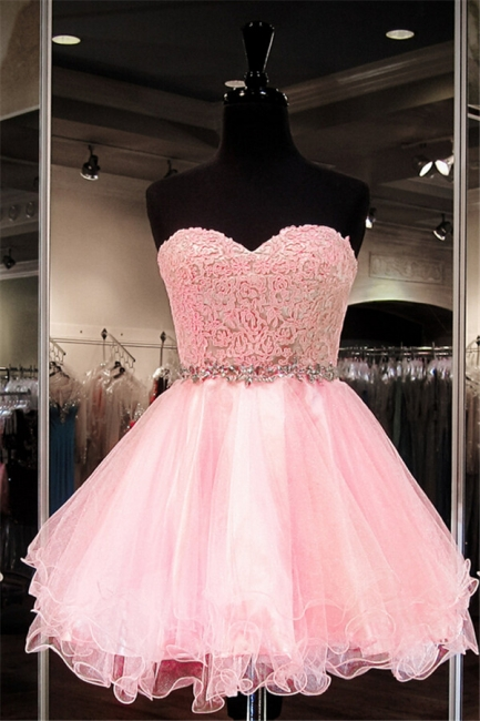 Pink Puffy Organza Sweetheart  Homecoming Dress with Crystal Belt School Dancing Party Dress