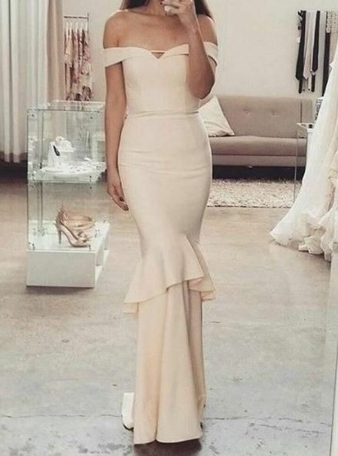 Elegant Mermaid Off-The-Shoulder Sleeves Ruffles Short Bridesmaid Dresses