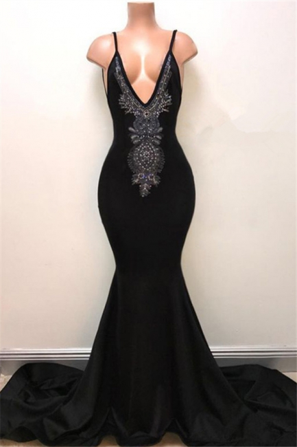 V-neck Straps Sexy Black Prom Dress | Mermaid Beads Sexy Evening Gown