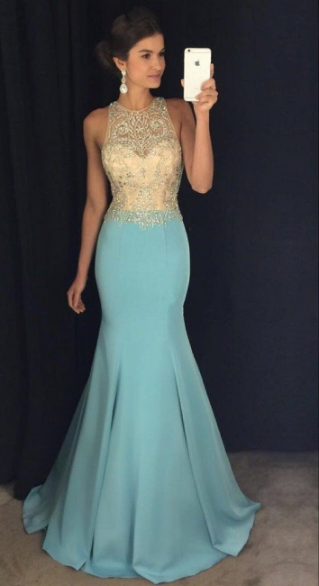 Mermaid Blue Sleeveless Crystals Evening Gowns Beaded Sexy  Prom Dresses BA7933