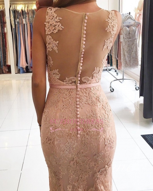 Mermaid Pink Lace Formal Dress   Sexy Long Evening Dresses BA6398