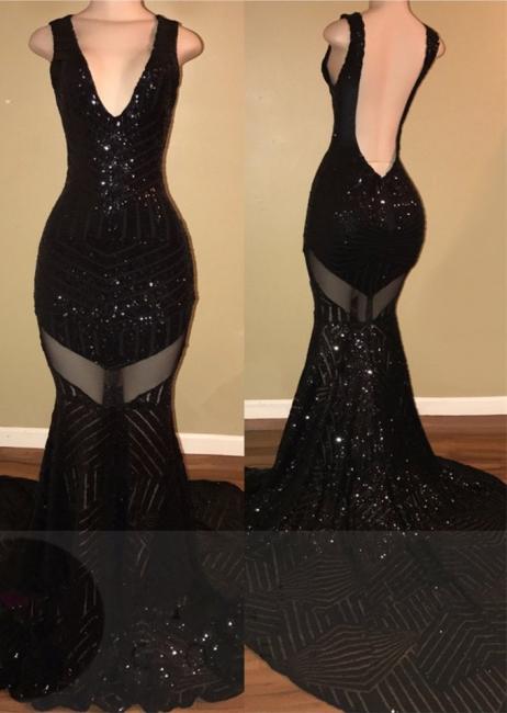 Mermaid V-neck Black Sequined Sexy Backless Sleeveless Prom Dress BA5183