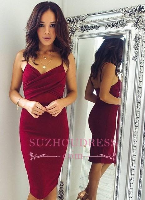 Sheath Spaghettis-Straps Knee-Length Burgundy Sexy Homecoming Dresses