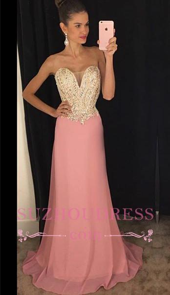 Sheath Latest Beadings Strapless  Chiffon Sleeveless Pink Prom Dresses GA079