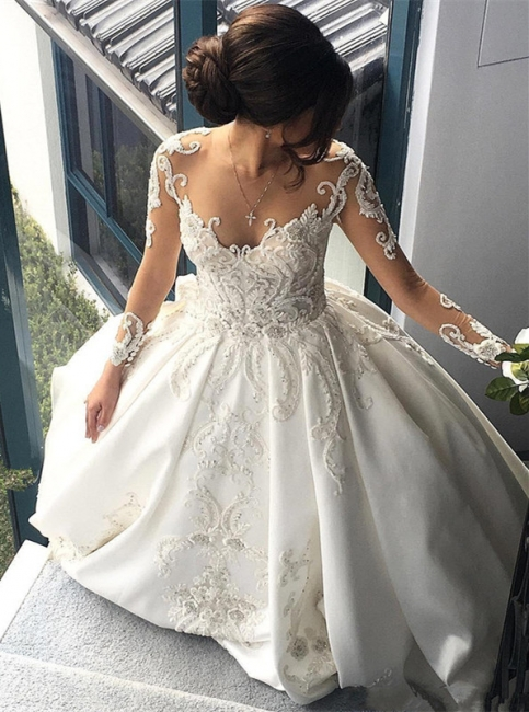 Glamorous Princess Jewel Ruffle White Wedding Dresses See Through Long Sleeves Bridal Gowns with Chapel Train