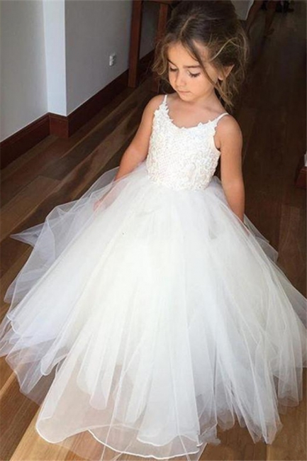 Lovely Sleeveless Spaghetti Straps Lace Flower Girl Dresses | White Tulle Ball Gown Pageant Dresses