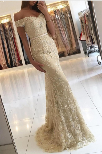 Off The Shoulder Champagne Lace Prom Dresses  Sexy Long  Formal Evening Dress BA6944