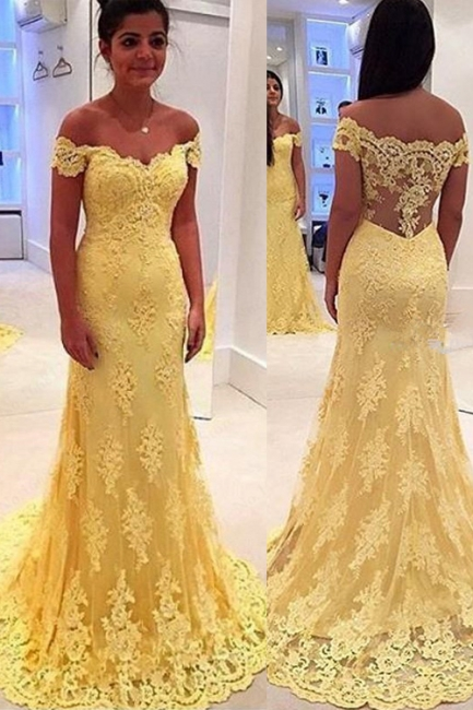 Vintage Off-Shoulder Yellow Prom Dress Mermaid  Evening Gowns With Lace Appliques CE011