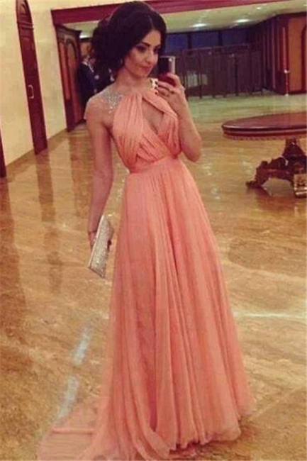 Ruffle Pink Chiffon Long Prom Dress with Beadings Unique Open Back Elegant Formal Dresses for Juniors