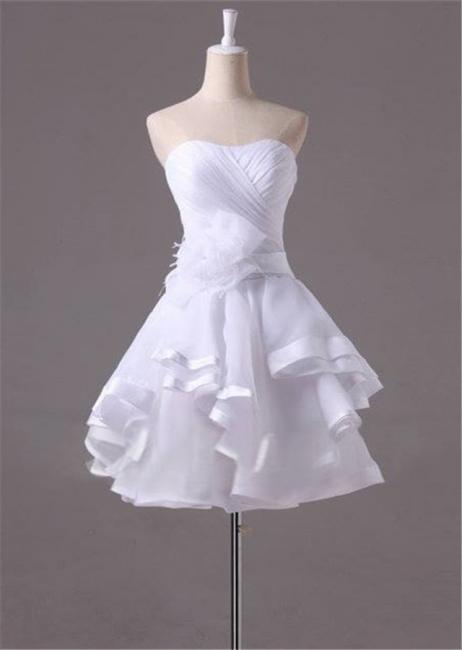 White Sweetheart Ruffles Mini Wedding Dress Latest Organza Short Summer Bridal Gowns