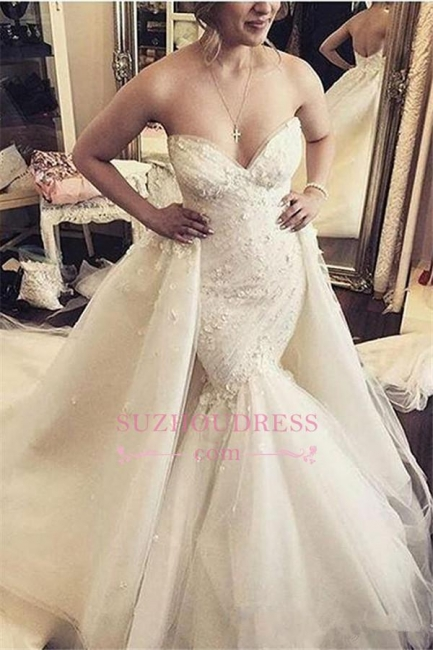 Floral Luxurious Mermaid Detachable-Train Ruffles Open-Back Sleeveless Strapless WEdding Dress