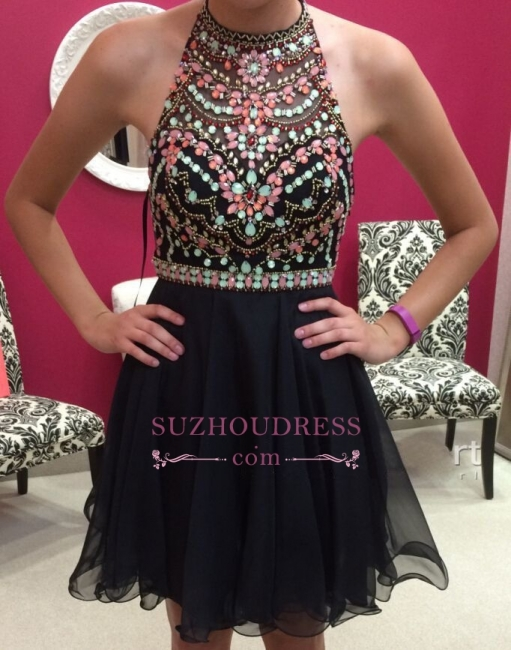 Newest Halter Sleeveless Colorful-Crystals Short Homecoming Dress