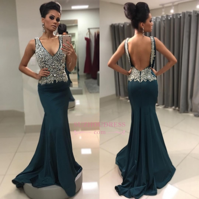 Sexy Sleeveless Backless Prom Dress | Crystal Mermaid V-Neck Evening Gowns  WW0091
