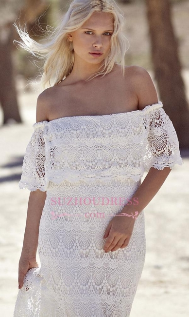 Sweep Train Elegant White Lace Bohemian Beach Wedding Dress Off-the-shoulder Boho Wedding Gowns