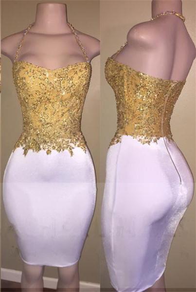 Mini Zipper Bodycon Cocktail Dress Halter  Sleeveless Beads Newest Gold Homecoming Dress