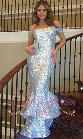 Sequins Off-The-Shoulder Sparkly Mermaid Silver Sexy Ruffles Evening Dress