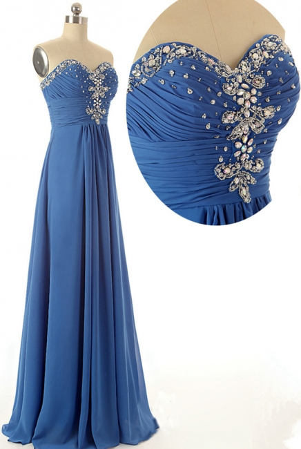 Floor Length Sweetheart Elegant  Evening Dresses Crystal Graceful Charming Prom Gowns