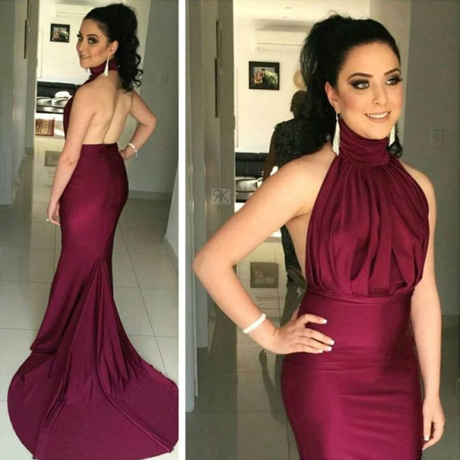 High Collar Simple Burgundy Evening Dress Halter Open Back Sleeveless Prom Dress