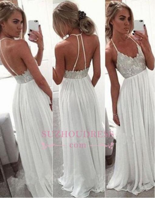 A Line Long Chiffon White Evening Gowns  Spaghetti Strap Open Back Prom Dress BA2815