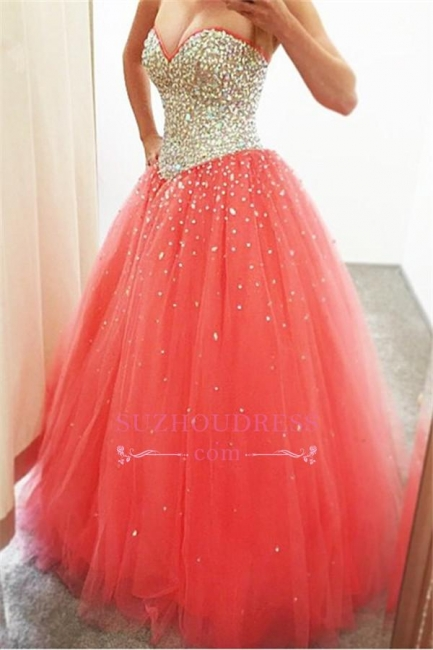 Sparkly Puffy Sweetheart Tulle Quinceanera Crystals Dresses