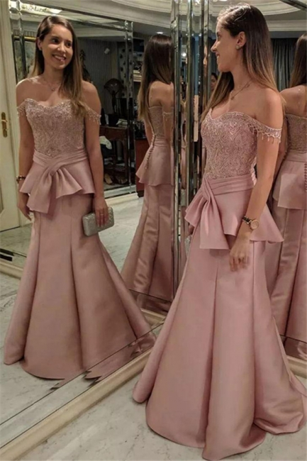 Pink Mermaid Tiered Evening Dresses   Off-the-Shoulder Appliques Prom Dresses with Beadings