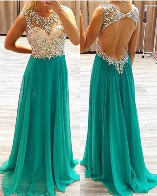 Round Neck Chiffon Evening Dress Long Backless Green Prom Dress With Beading
