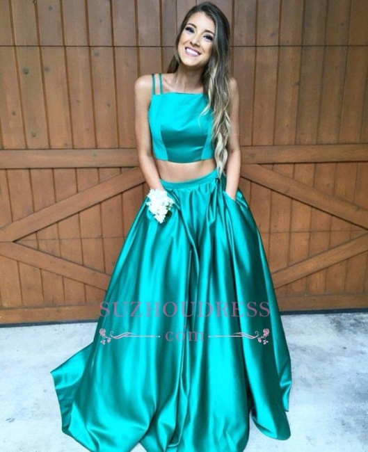 Sweep-Train Newest Sleeveless Two Piece Prom Dress  A-line Straps Evening Dress BA4656