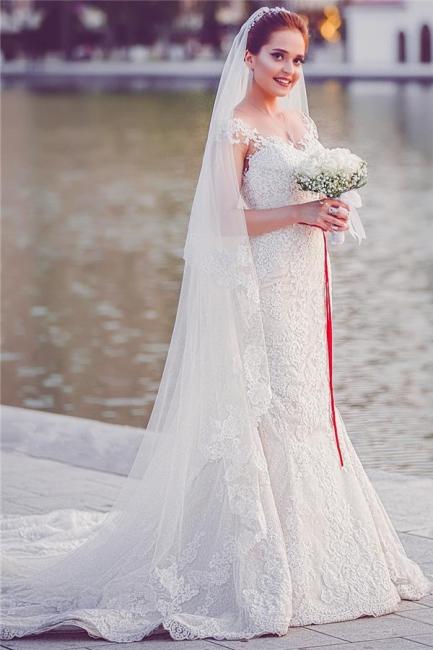 Mermaid Lace  Wedding Dresses | Long Train Cap Sleeves Bride Dress