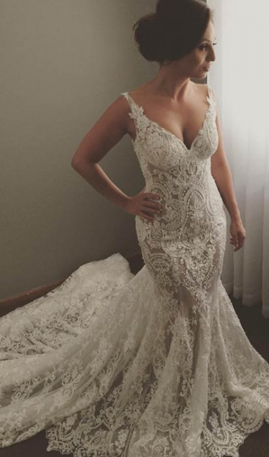 V-neck Sleeveless Mermaid Wedding Dresses  Sexy Lace Appliques Bridal Gown WE0196