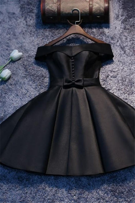 Off The Shoulder Homecoming Dresses   Buttons Short Hoco Dresses with Bowknot
