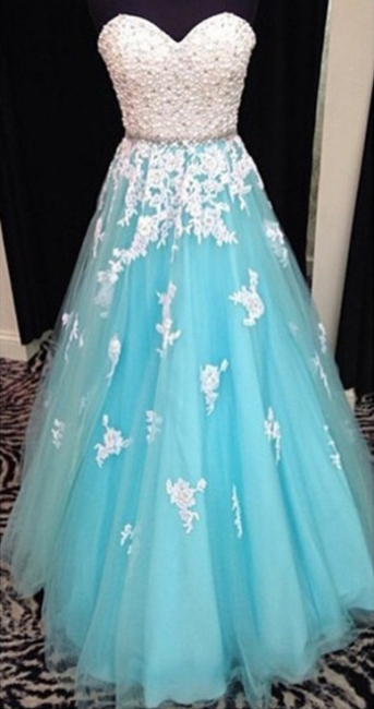 Popular A-line Lace Prom Dresses Pearls Lace Up   Evening Dress