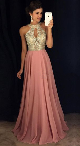 Crystals High Neck Sleeveless Sexy Prom Dresses  Pink Chiffon Keyhole Evening Gown