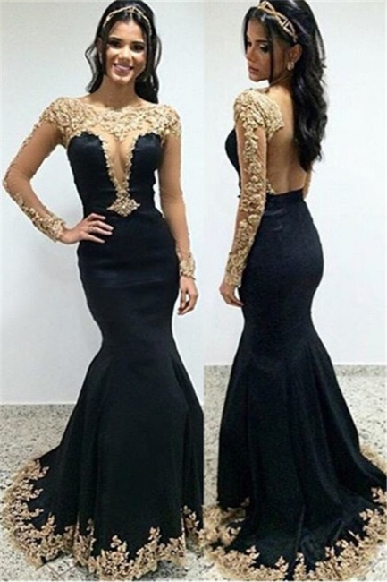 Champagne Gold Lace Appliques Prom Dress |  Mermaid Long Sleeve Evening Gown