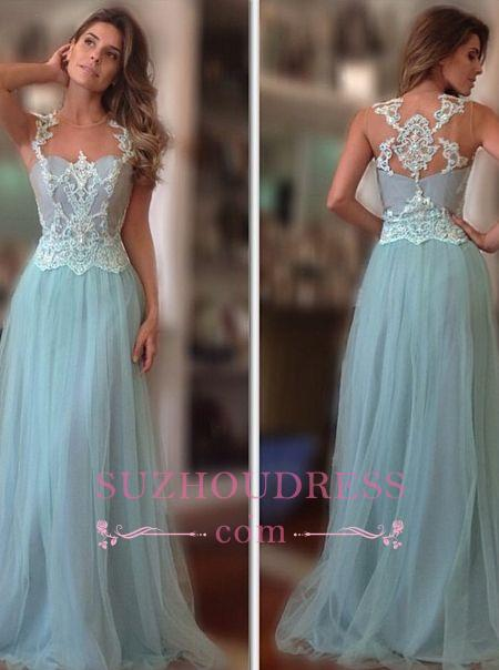 A-Line Lace Applique Tulle Sleeveless Prom Dresses  Evening Gown