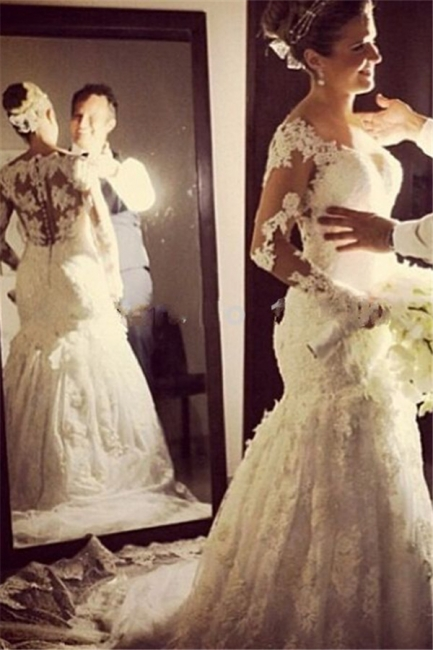 Lace Appliques Long Sleeve Wedding Dresses Mermaid Bridal Gowns with Long Train BA6835