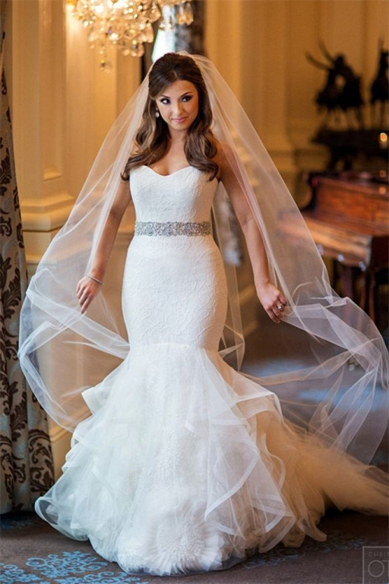 Sweetheart Mermaid Organza Wedding Dress  Elegant Bridal Dresses with Crystal Belt