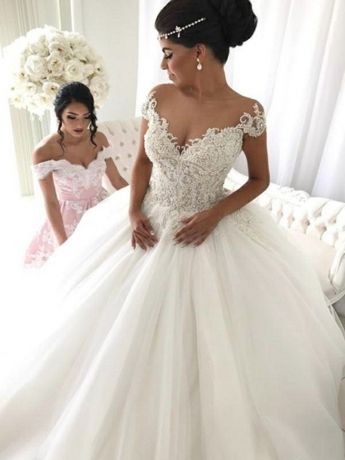 Affordable Off-the-Shoulder V-Neck Wedding Dresses Princess Ball Gown Sleeveless Bridal Gowns Online