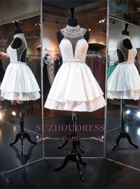 Sleeveless Mini High-Neck A-line Delicate Beads Homecoming Dress BA5103