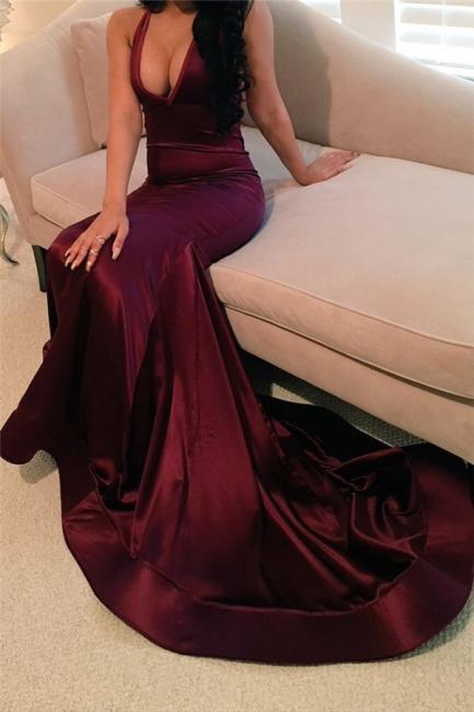 Sheath Satin Evening Dresses  Sexy Deep V-neck Sleeveless Prom Gowns  BA4623