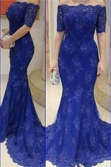 Royal Blue Mermaid Lace Long Evening Dress Sexy Off Shoulder Half Sleeve Prom Dresses BA4131