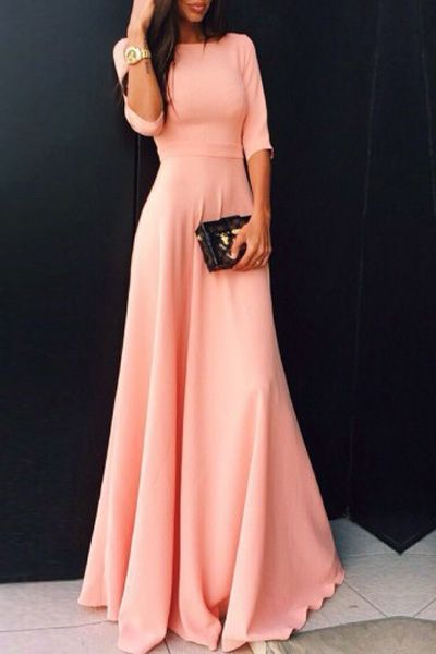 Cute Pink Half Sleeve Long Prom Dress New Arrival Simple Floor Length Evening Dresses BA6321