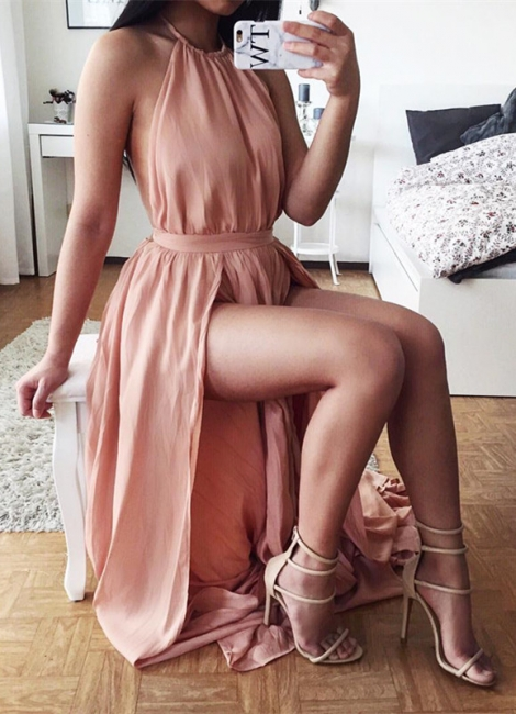 Sexy Halter Chiffon Summer Dresses Natural Split  A-Line Prom Gowns