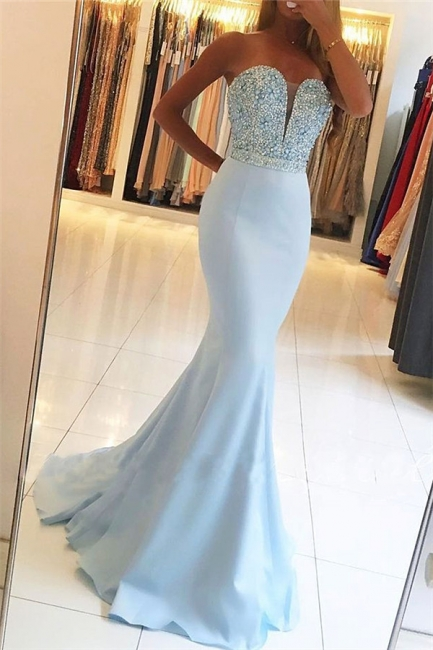 Baby Blue Mermaid Open Back Prom Dresses Sexy  Beads Sequins Formal Evening Dresses BA7755