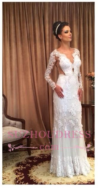 White Column Sleeve Long Lace Sheath Floor-length Wedding Dress